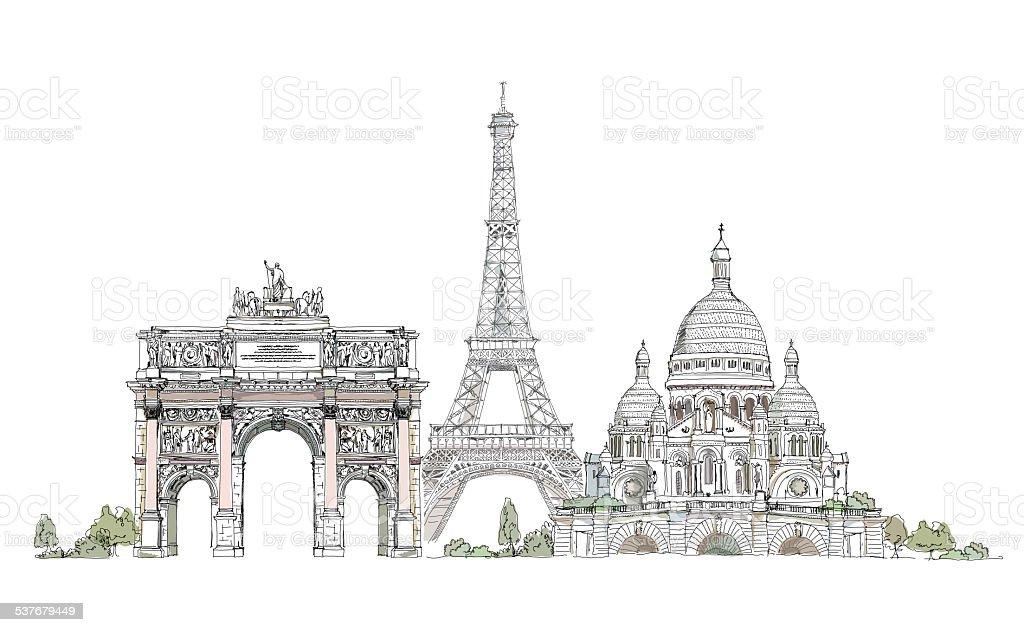 Paris, Sacred Heart, Triumph arch and Eiffel tower, Sketch vector art illustration