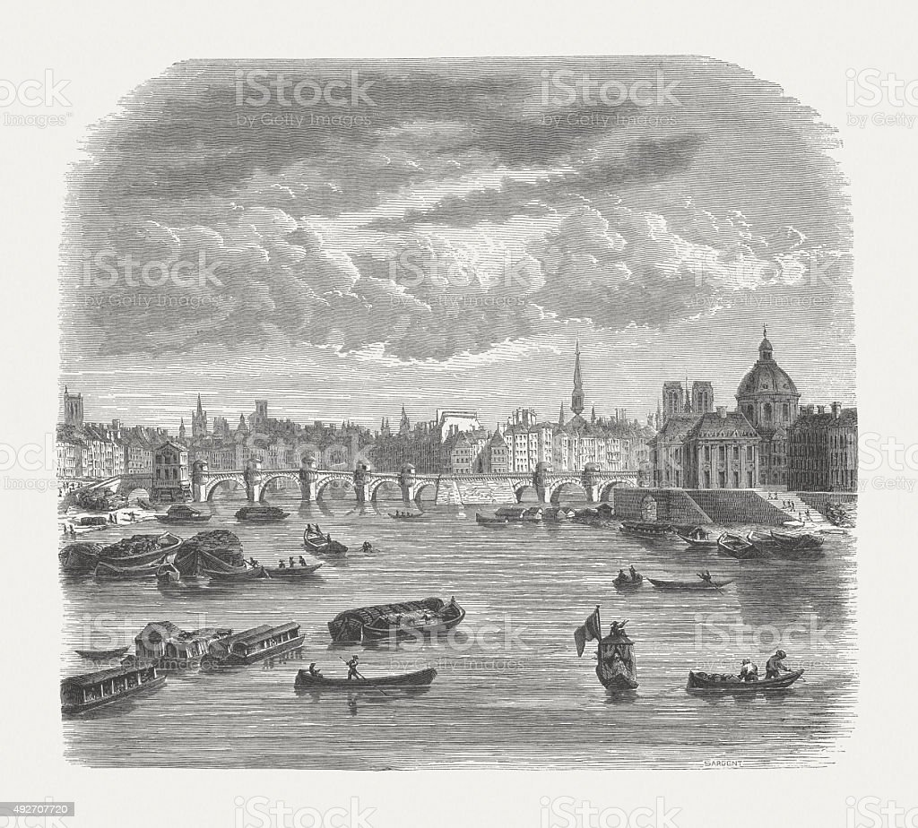Paris with Seine in the 18th century, published in 1871 vector art illustration