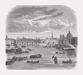 Paris with Seine in the 18th century, published in 1871