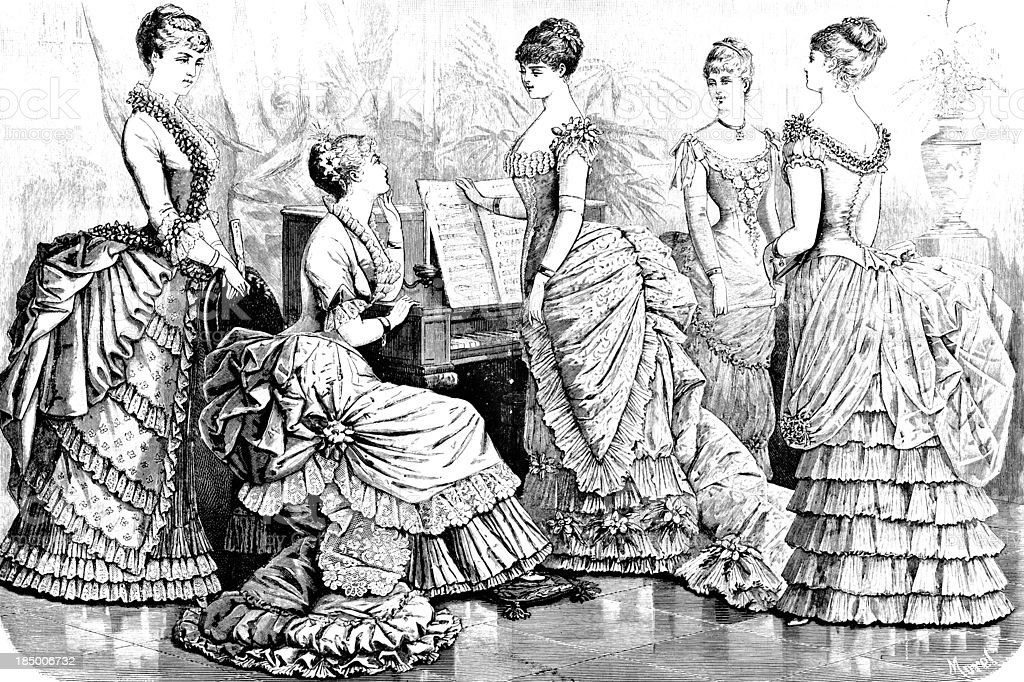 Parisian Fashions - Victorian Engraving royalty-free stock vector art