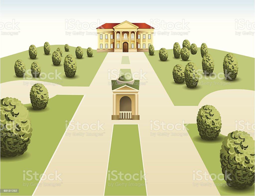 park mansion vector art illustration