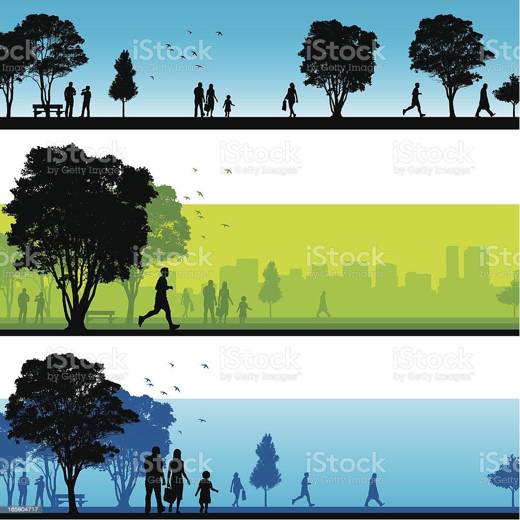 Park silhouettes vector art illustration
