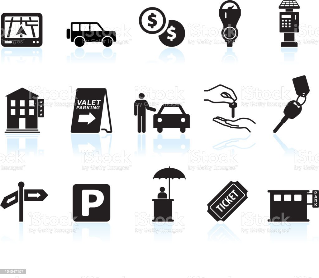 parking options black & white royalty free vector icon set vector art illustration