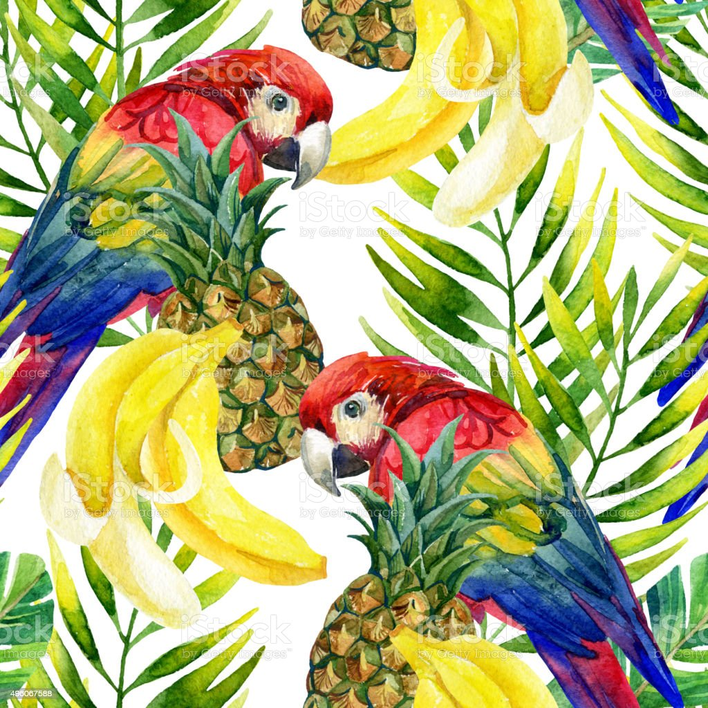 Parrot seamless pattern vector art illustration