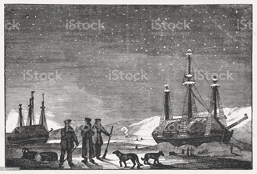 Parry's ships in the Arctic Ocean, wood engraving, published 1855 vector art illustration