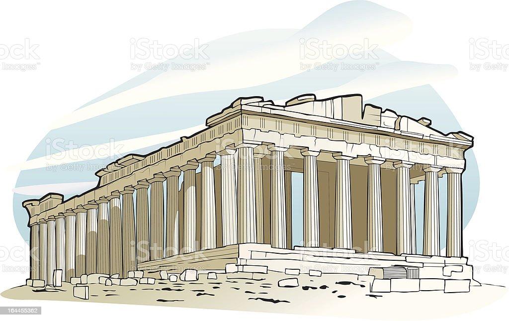 Parthenon at Acropolis, Athens vector art illustration
