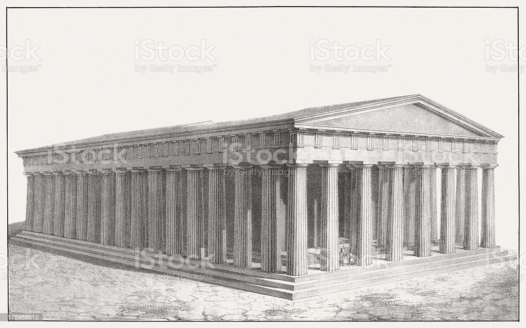 Parthenon (restaurated) at the Acropolis in Athens, royalty-free stock vector art