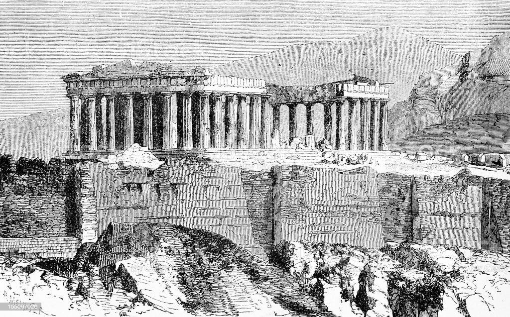 Parthenon in Athens vector art illustration