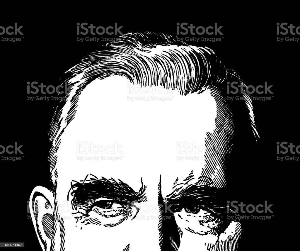 Partial View of Man vector art illustration