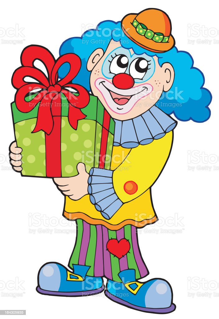 Party clown with gift royalty-free stock vector art