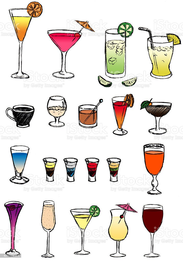 Party drinks and cocktails vector art illustration