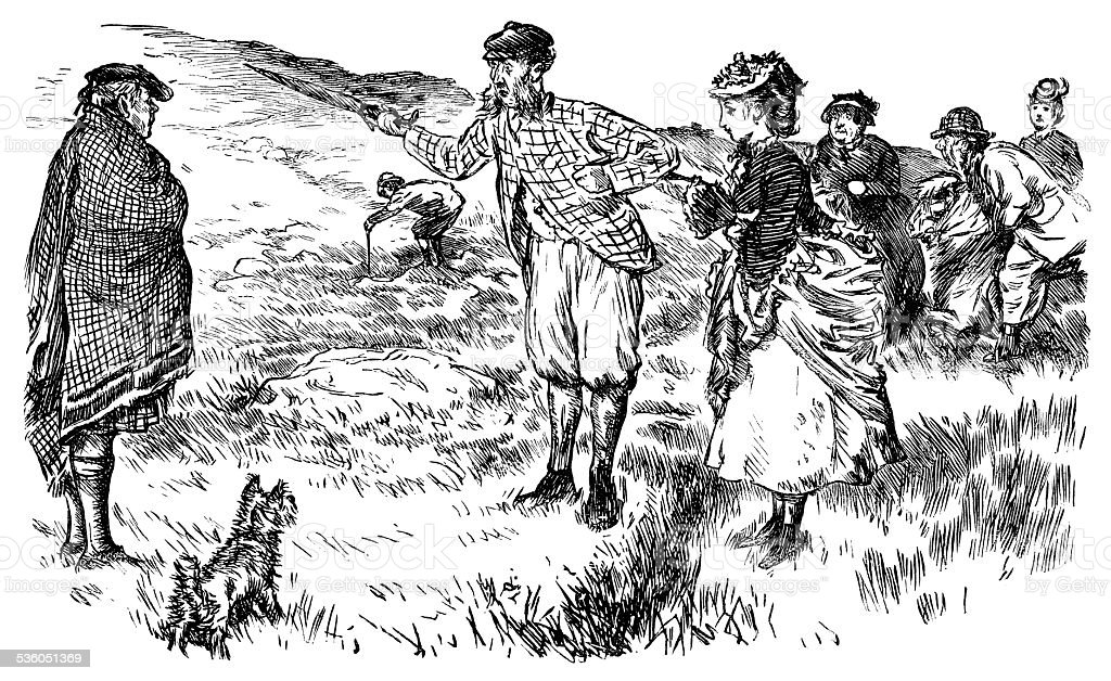 Party of Victorian tourists lost in the Scottish Highlands vector art illustration