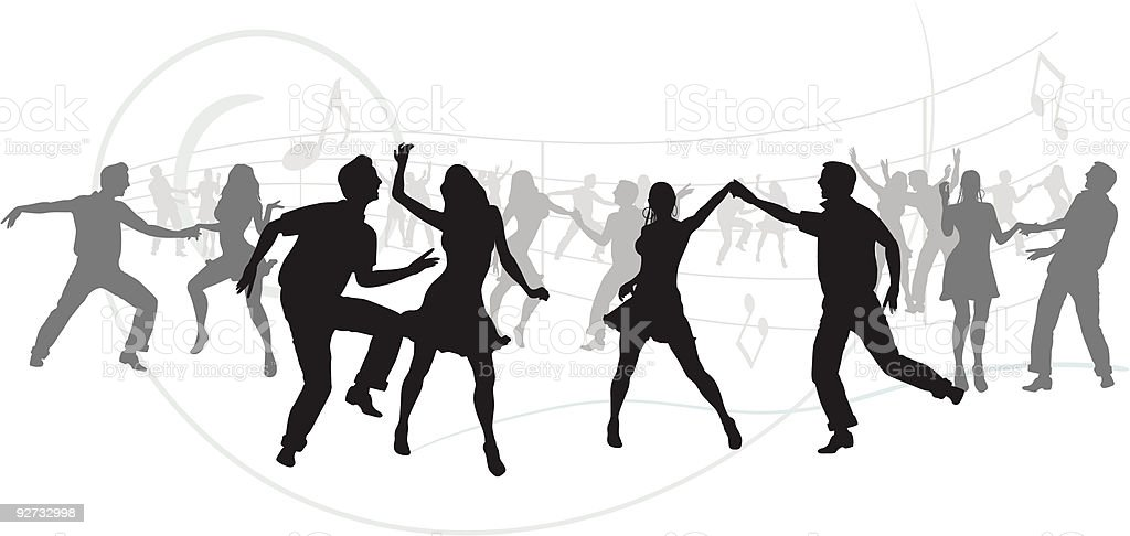 party silhouettes vector art illustration