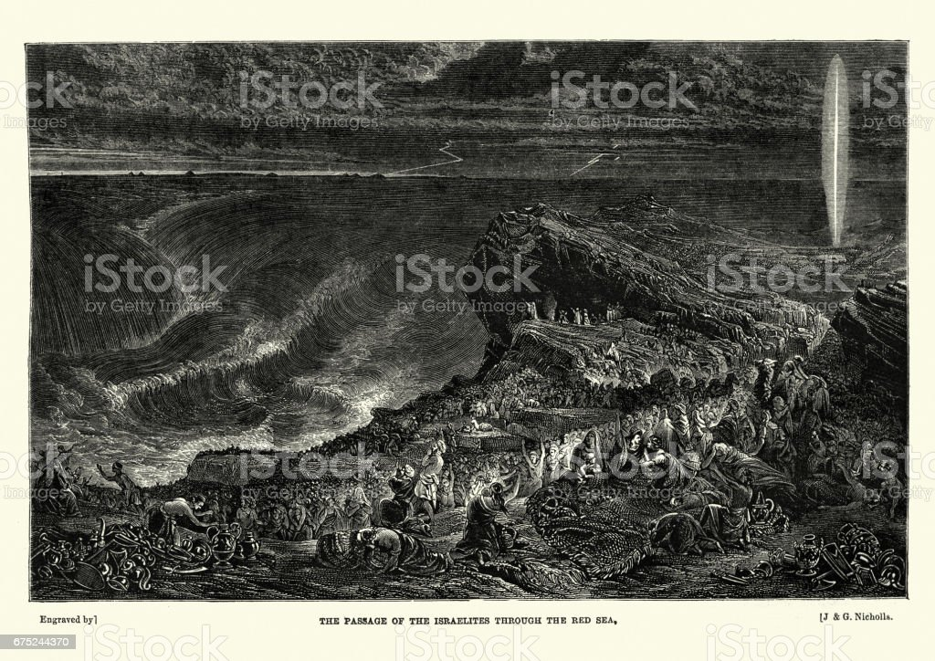 Passage of the Israelites through the Red Sea vector art illustration