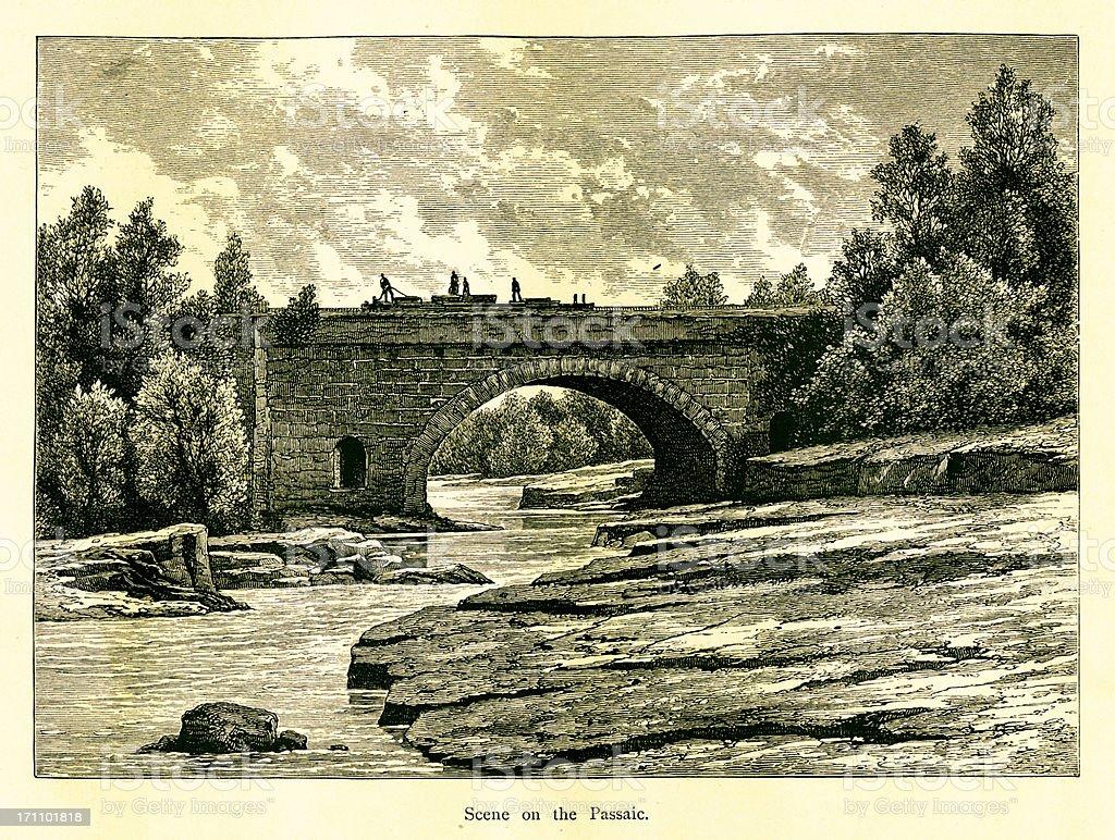 Passaic River, New Jersey | Historic American Illustrations royalty-free stock vector art