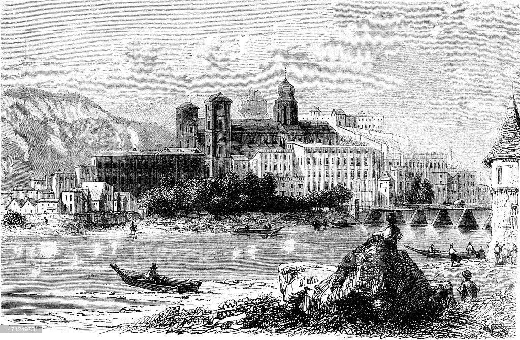 Passau, Lower Bavaria (Victorian illustration) vector art illustration