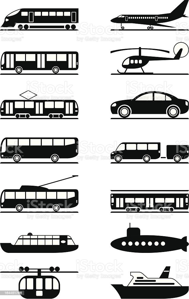 Passenger and public transportation vector art illustration