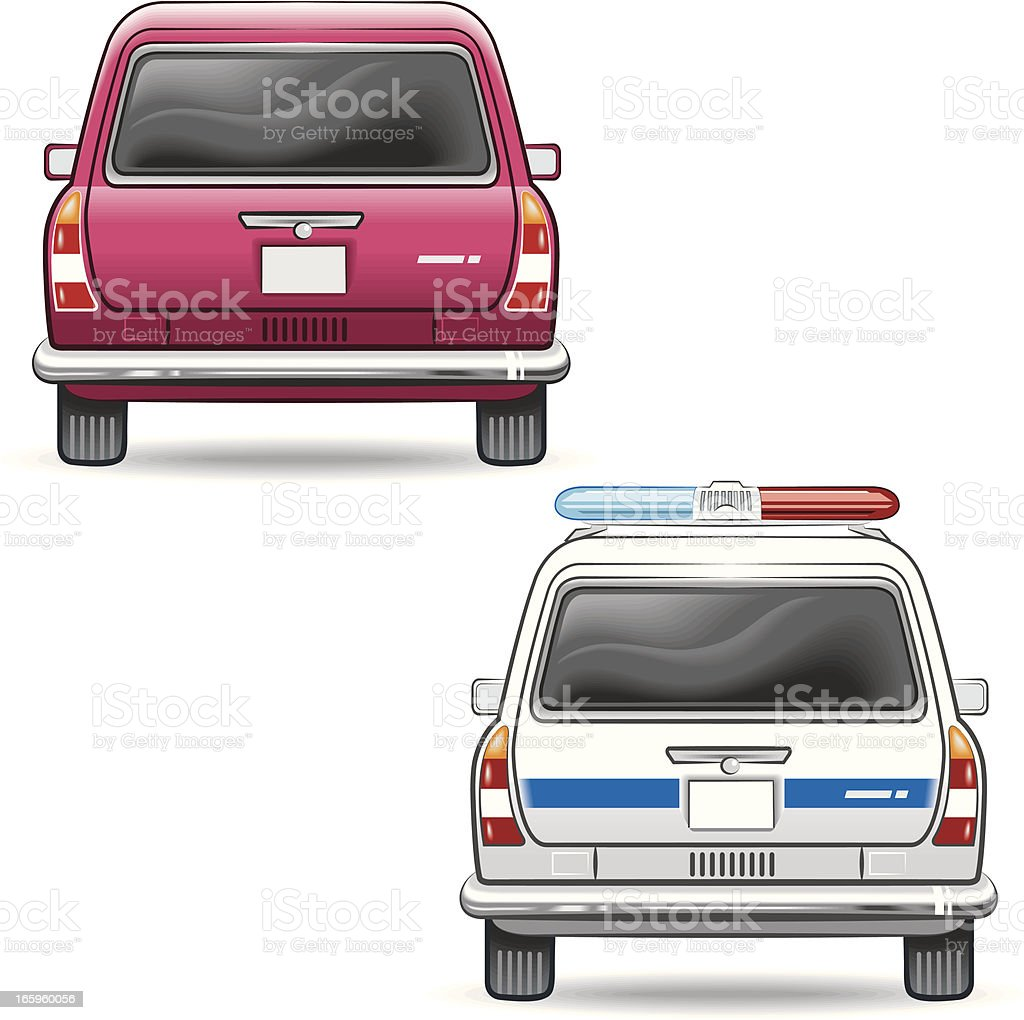 passenger car and the police vector art illustration