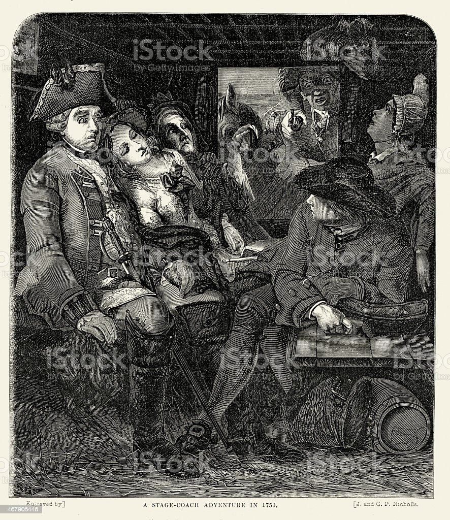 Passengers in a stagecoach being robbed by a highwayman vector art illustration