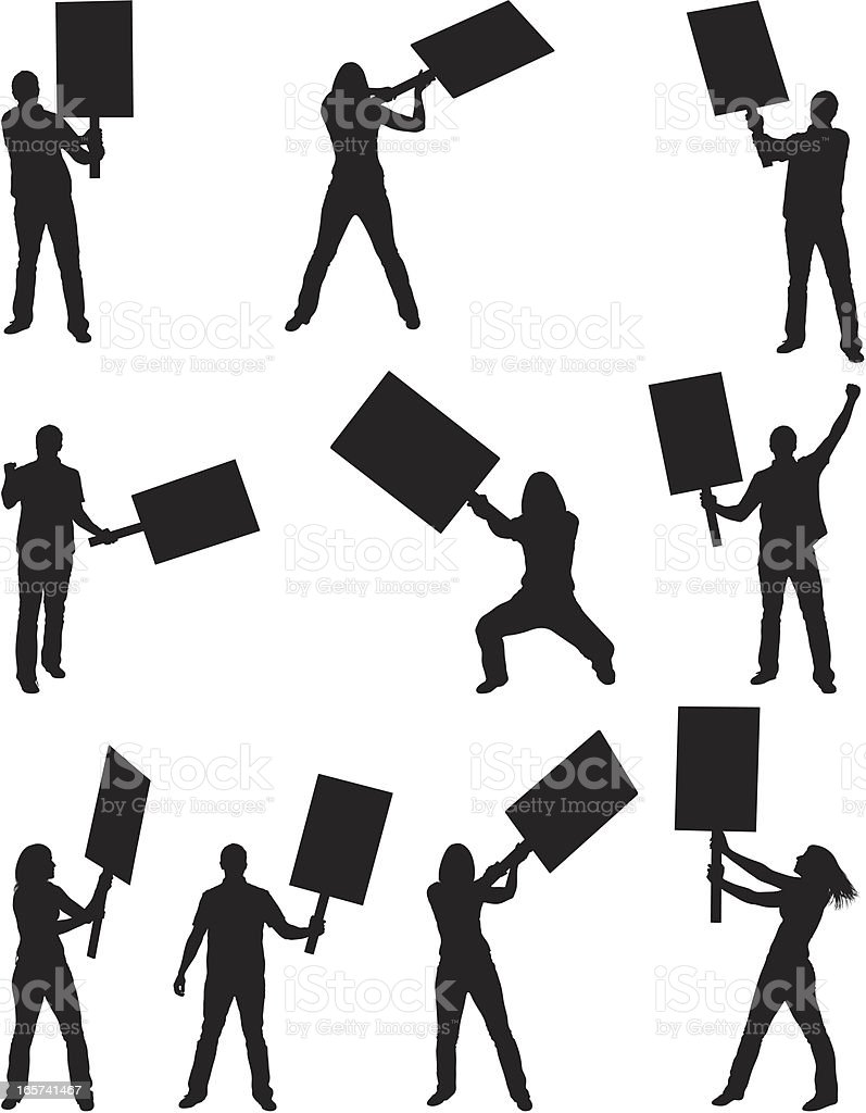 Passionate protesters with picket signs royalty-free stock vector art