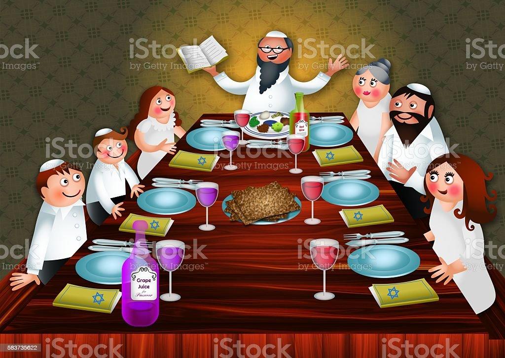 Passover Family Meal vector art illustration