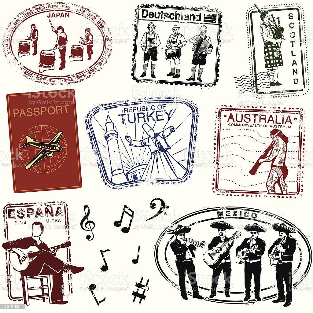 Passport by way of music vector art illustration