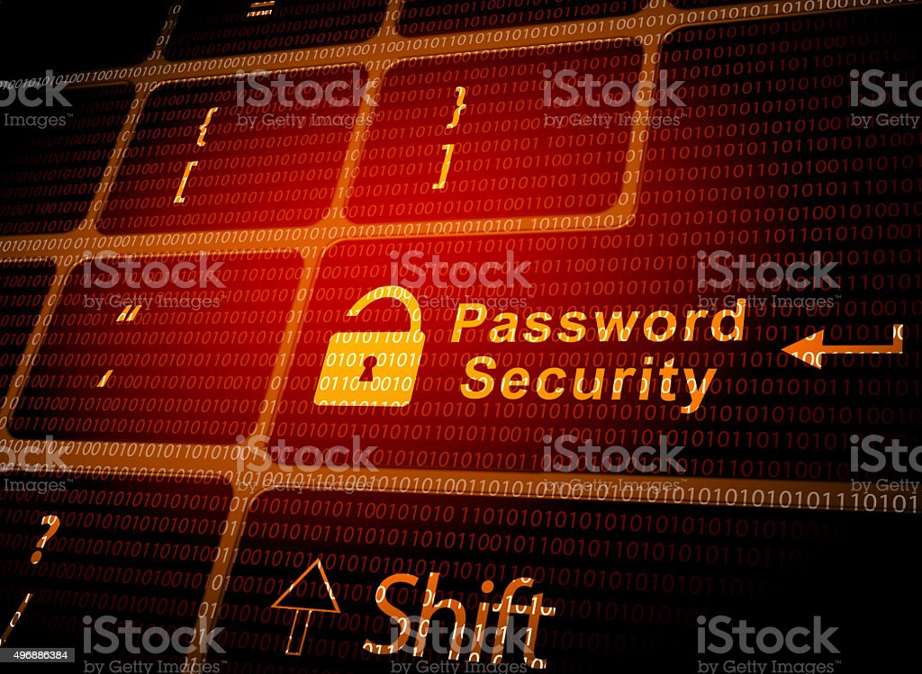 Password security key vector art illustration