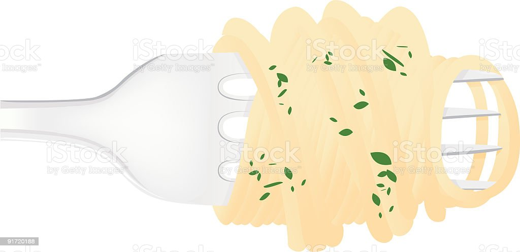 Pasta in a fork royalty-free stock vector art