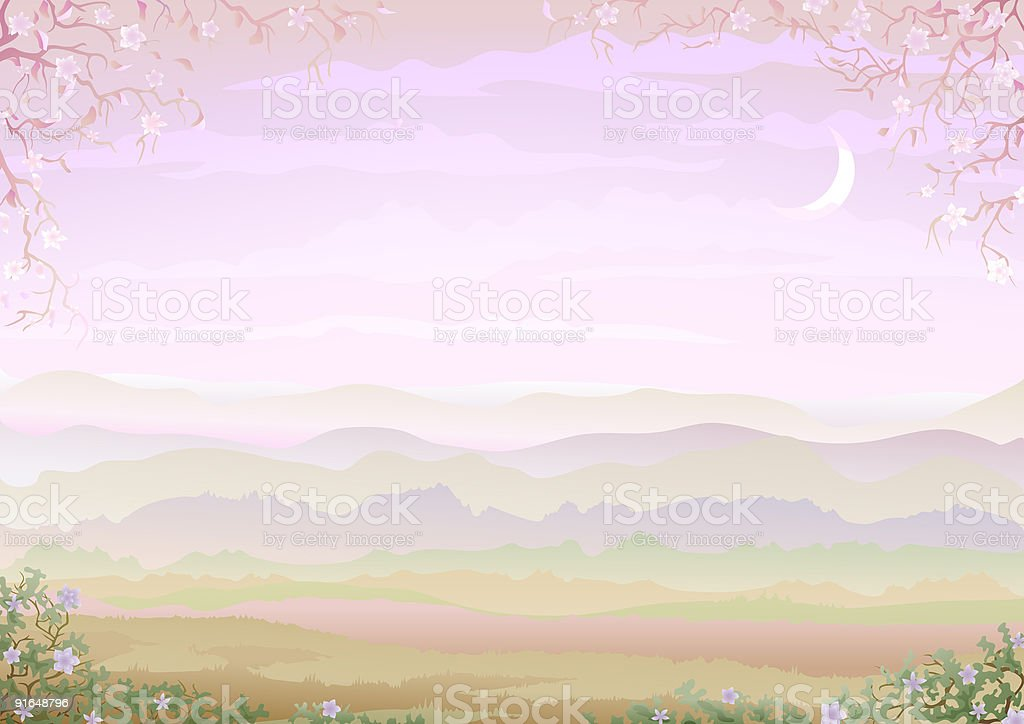 Pastel morning lanscape with floral border royalty-free stock vector art