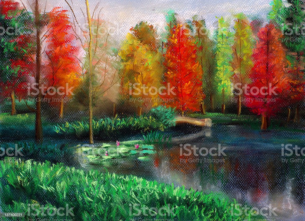 Pastel Painting - Autumn with Color royalty-free stock vector art
