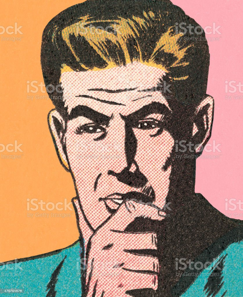 Pastel-colored pop-art-style illustration of a man thinking vector art illustration