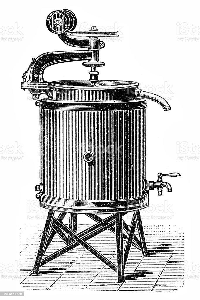 Pasteurization of milk vector art illustration