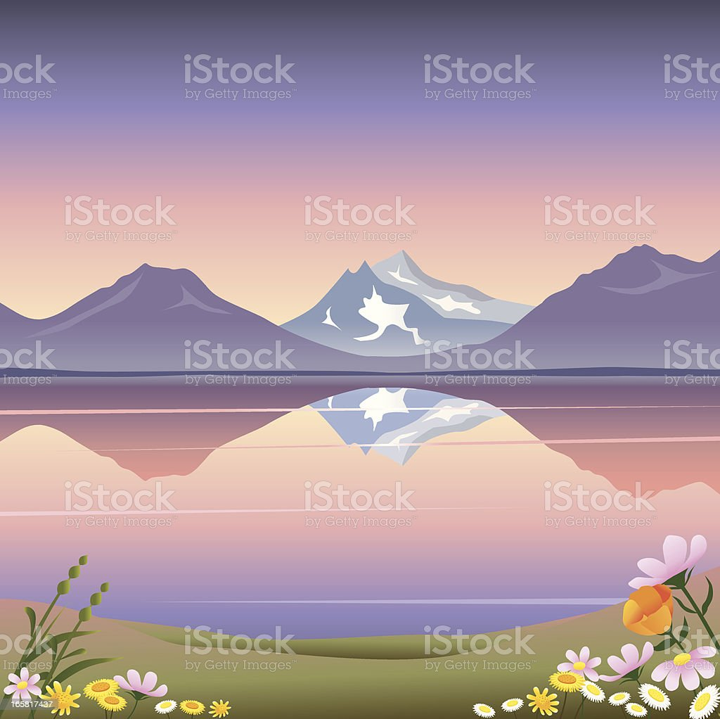 Pastoral mountain lake royalty-free stock vector art