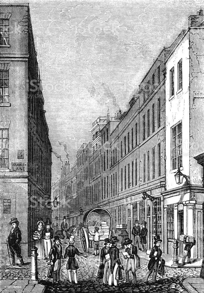 Paternoster Row, London (Victorian woodcut) vector art illustration