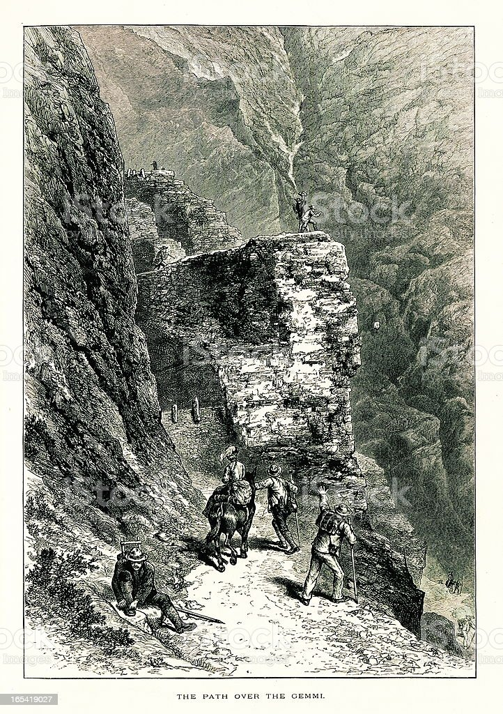 Path over Gemmi Pass, Switzerland I Antique European Illustrations vector art illustration