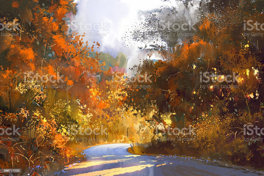 pathway through the colorful forest,illustration vector art illustration