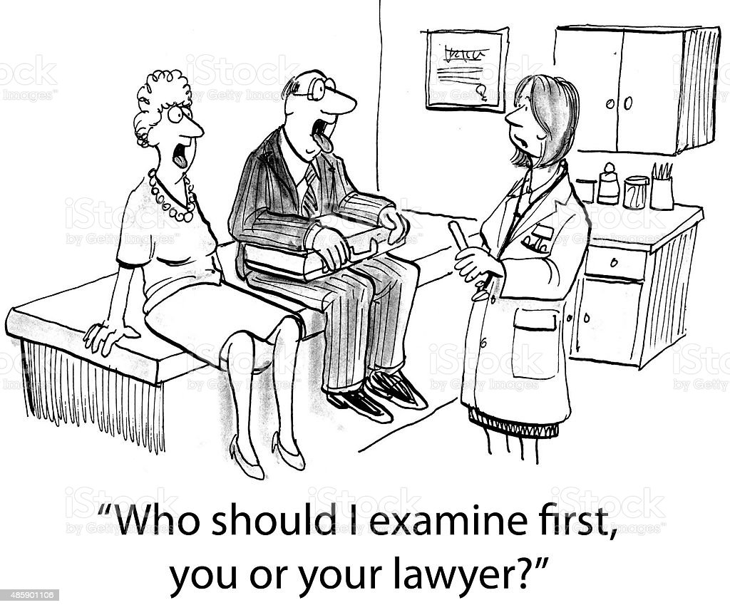 Patient and Her Lawyer vector art illustration