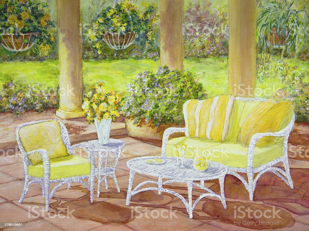 Patio with Wicker Furniture vector art illustration