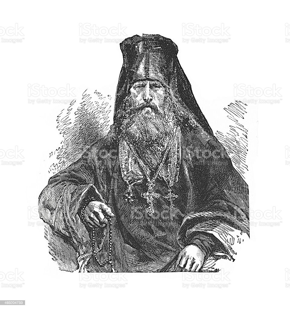 Patriarch of Constantinople (antique engraving) vector art illustration