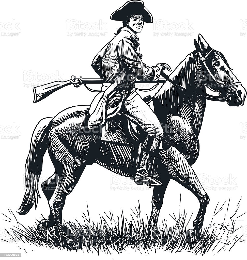 Patriot on Horseback vector art illustration