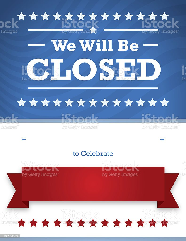 Patriotic Closed Sign for Business royalty-free stock vector art