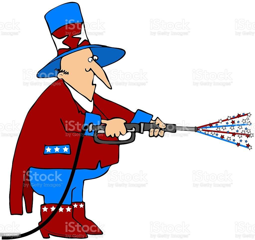 Patriotic Pressure Washer vector art illustration