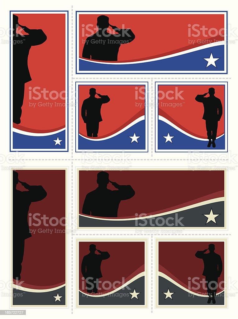 Patriotic Soldier Set vector art illustration