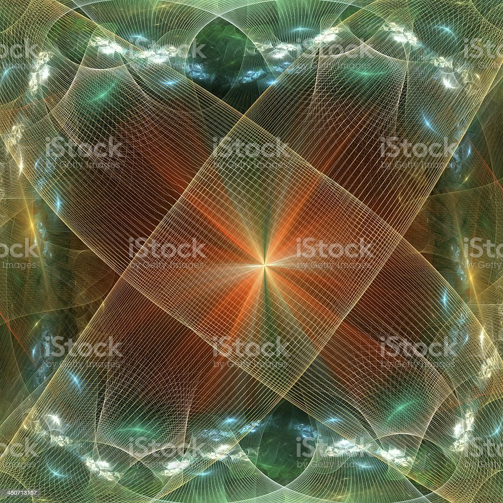 Pattern from a grid and bright glowing lights. Computer generate vector art illustration