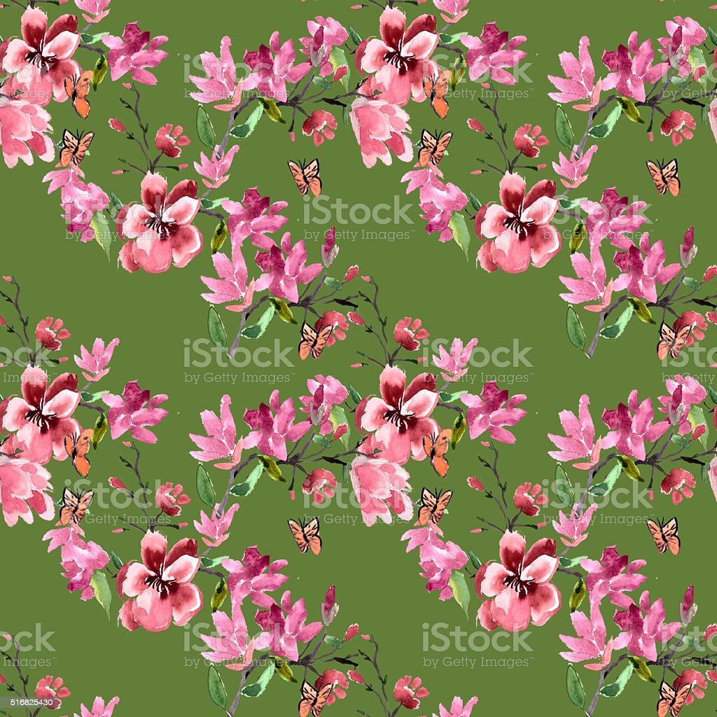 Pattern magnolia flowers painted watercolor stock photo