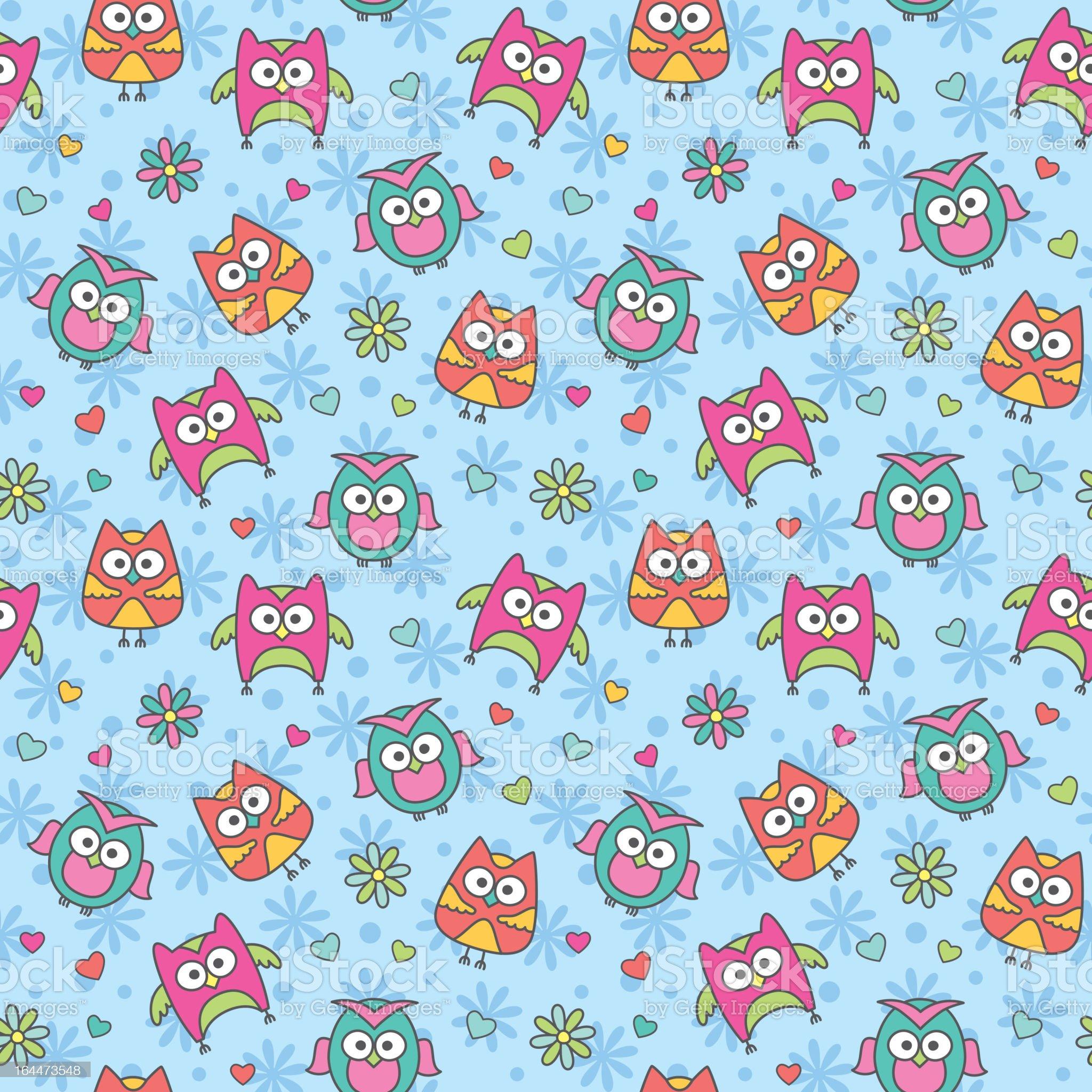 pattern of cartoon owls royalty-free stock vector art