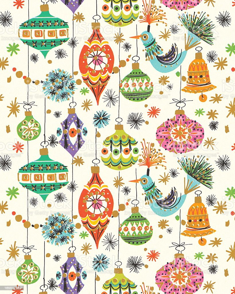 Pattern of Christmas Ornaments royalty-free stock vector art