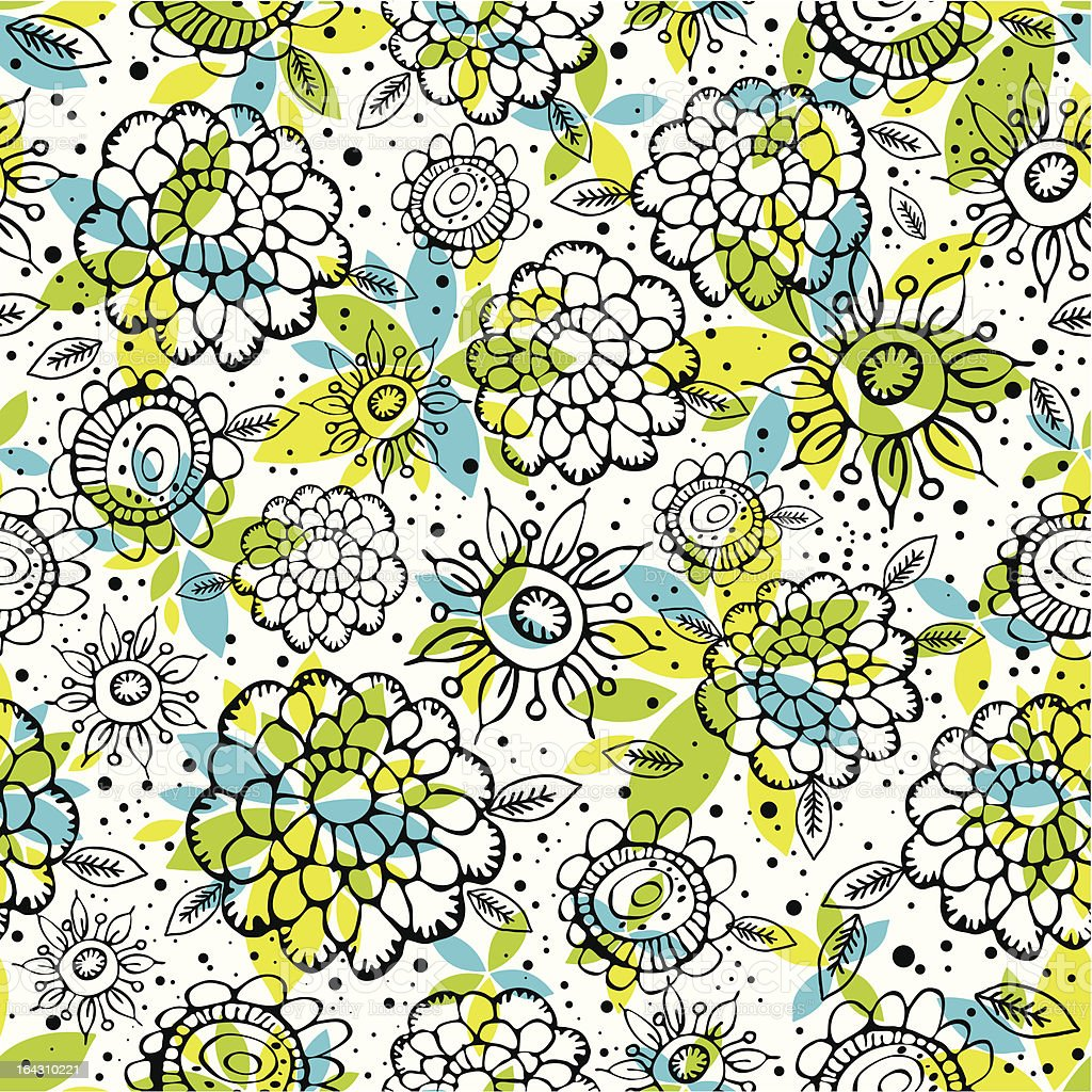 pattern of hand draw  flowers royalty-free stock vector art
