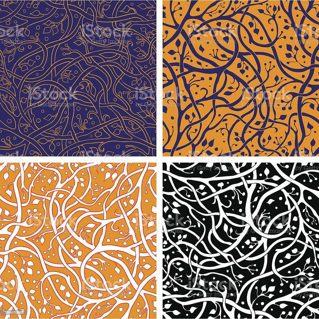 Pattern set with branches royalty-free stock vector art
