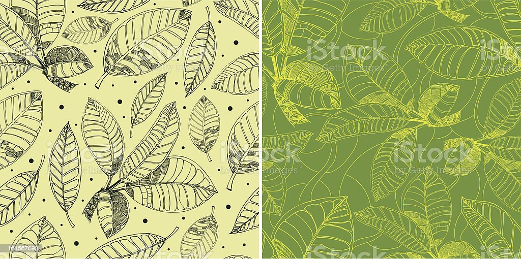 Pattern with freehand coffee leafs royalty-free stock vector art